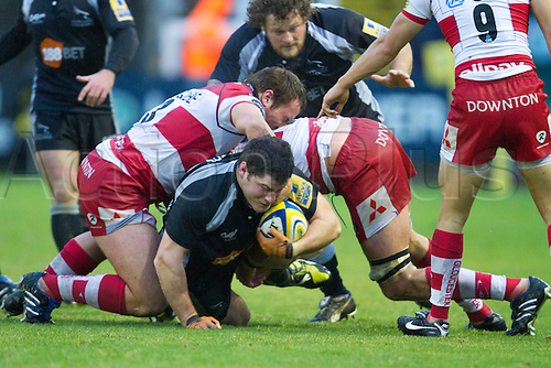 21.11.2010 Aviva Premiership Rugby Union. Newcastle Falcons v Gloucester Rugby...Falcons Rob Vickers (2) scrambles under the tackle