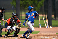 GCL Mets Federico Polanco (44) at bat in front of catcher Nerio Rodriguez (58) during a Gulf Coast League game against the GCL Astros on August 10, 2019 at FITTEAM Ballpark of the Palm Beaches Training Complex in Palm Beach, Florida.  GCL Astros defeated the GCL Mets 8-6.  (Mike Janes/Four Seam Images)
