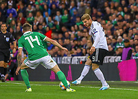 Timo Werner (Deutschland Germany) gegen Mark Sykes (Nordirland, Northern Ireland) - 09.09.2019: Nordirland vs. Deutschland, Windsor Park Belfast, EM-Qualifikation DISCLAIMER: DFB regulations prohibit any use of photographs as image sequences and/or quasi-video.