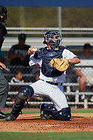 New York Yankees catcher Kyle Higashioka (38) throws the ball back to the pitcher during an Instructional League game against the Baltimore Orioles September 23, 2017 at the Yankees Minor League Complex in Tampa, Florida.  (Mike Janes/Four Seam Images)