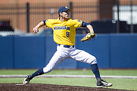 Michigan Wolverines pitcher Ryan Nutof (8) delivers a pitch to the plate against the Illinois Fighting Illini during the NCAA baseball game on April 8, 2017 at Ray Fisher Stadium in Ann Arbor, Michigan. Michigan defeated Illinois 7-0. (Andrew Woolley/Four Seam Images)