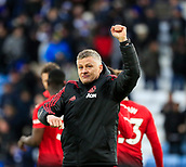 3rd February 2019, King Power Stadium, Leicester, England; EPL Premier League Football, Leicester City versus Manchester United; Manchester United manager Ole Gunnar Solskjaer raises his fist in the air to salute the victory