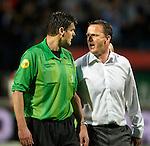 Nederland, Nijmegen, 10 mei 2012.Seizoen 2011/2012.Eredivisie.N.E.C.-Vitesse.John van den Brom trainer-coach van Vitesse doet zijn beklag bij scheidsrechter Braamhaar.