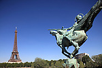 The statue of the France renaissante (France Reborn) with Eiffel Tower la tour eiffel in the background. City of Paris. Paris. France