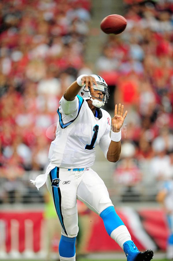 Sept. 11, 2011; Glendale, AZ, USA; Carolina Panthers quarterback (1) Cam Newton against the Arizona Cardinals at University of Phoenix Stadium. The Cardinals defeated the Panthers 28-21. Mandatory Credit: Mark J. Rebilas-