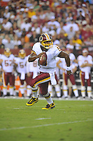13 August 2010:  Redskins QB Donovan McNabb (5) rolls out and runs for a first down.  McNabb completed 5 of 8 for 58 yards and 1 TD.  The Washington Redskins defeated the Buffalo Bills 42-17 during their preseason game at FedEx Field in Landover, MD.