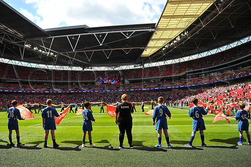 August 6th 2017, Wembley Stadium, London, England; FA Community Shield Final, Arsenal versus Chelsea; pre-match kids on the pitch