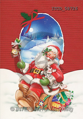 Michele, CHRISTMAS SANTA, SNOWMAN, paintings(ITCD58726,#X#) Weihnachtsmänner, Schneemänner, Weihnachen, Papá Noel, muñecos de nieve, Navidad, illustrations, pinturas