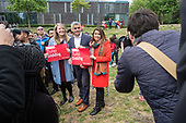 Tulip Siddiq and London Mayor Sadiq Khan at the launch of her campaign to retain Hampstead and Kilburn, the tenth most marginal Labour parliamentary seat in the UK.  Swiss Cottage, London.