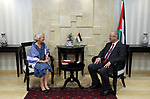 Palestinian Prime Minister Rami Hamdallah meets with the representative of Finland to Palestine, Pericolisa Costella, at his office in the West Bank city of Ramallah, on July 09, 2017. Photo by Prime Minister Office