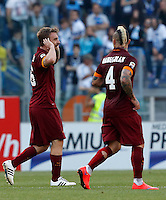 Calcio, Serie A: Lazio vs Roma. Roma, stadio Olimpico, 25 maggio 2015.<br /> Roma's Daniele De Rossi, left, and Radja Nainggolan celebrate after their teammate Mapou Yanga-Mbiwa scored the winning goal during the Italian Serie A football match between Lazio and Roma at Rome's Olympic stadium, 25 May 2015.<br /> UPDATE IMAGES PRESS/Riccardo De Luca