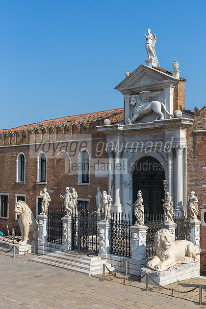 Italie, Vénétie, Venise: Porte terrestre de l'Arsenal de Venise, Campo de l'Arsenal   // Italy, Veneto, Venice:  Venetian Arsenal, The Porta Magna at the Venetian Arsenal.