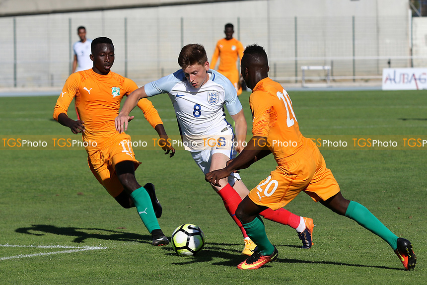 Harvey Barnes of England takes on the Ivory Coast defence during England Under-18 vs Ivory Coast Under-20, Toulon Tournament Final Football at Stade de Lattre-de-Tassigny on 10th June 2017