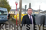 BUS STOP: Cllr Michael Cahill at the site of the present bus stop in Killorglin. He is calling for a bus shelter to be installed there for bus passengers.   Copyright Kerry's Eye 2008