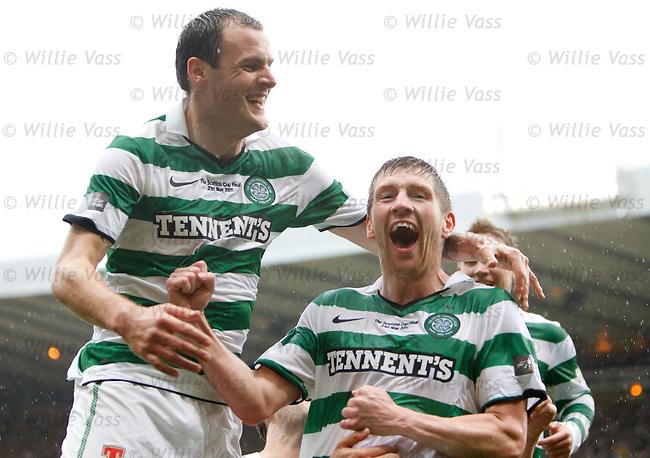 Mark Wilson celebrates his goal with Anthony Stokes