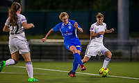 20190823 - OUD HEVERLEE BELGIUM : KRC Genk's Nikki Janssen and OHL's Zenia Mertens pictured during the female soccer game between the OHL Ladies vs KRC Genk Ladies, the first game for both teams in the Belgian Women's Super League , Friday 23rd  August 2019 at the OHL Jeugdcomplex , Belgium . PHOTO SPORTPIX.BE | SEVIL OKTEM