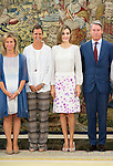"""Queen Letizia of Spain attends a reception to the representatives of the foundation """"Lo que de verdad importa"""" during royal audiences at Zarzuela Palace in Madrid, September 03, 2015. <br /> (ALTERPHOTOS/BorjaB.Hojas)"""