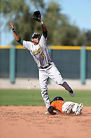 Oakland Athletics infielder Edwin Diaz (8) during an Instructional League game against the San Francisco Giants on October 13, 2014 at Giants Baseball Complex in Scottsdale, Arizona.  (Mike Janes/Four Seam Images)