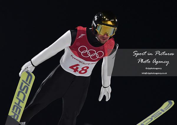 Markus Eisenbichler (GER). Mens normal hill individual. Qualification. Ski jumping. Alpensia ski jump centre. Pyeongchang2018 winter Olympics. Alpensia. Pyeongchang. Republic of Korea. 08/02/2018. ~ MANDATORY CREDIT Garry Bowden/SIPPA - NO UNAUTHORISED USE - +44 7837 394578