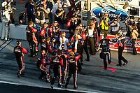 Trevor Bayne (#21) crew celebrates victory in pit lane.