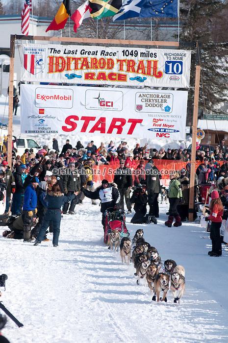 2010 Iditarod Re-start in Willow Alaska musher # 4 WATTIE McDONALD.