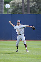 Nick Choruby (18) of the Texas A&M Aggies makes a throw during a game against the Pepperdine Waves at Eddy D. Field Stadium on February 26, 2016 in Malibu, California. Pepperdine defeated Texas A&M, 7-5. (Larry Goren/Four Seam Images)
