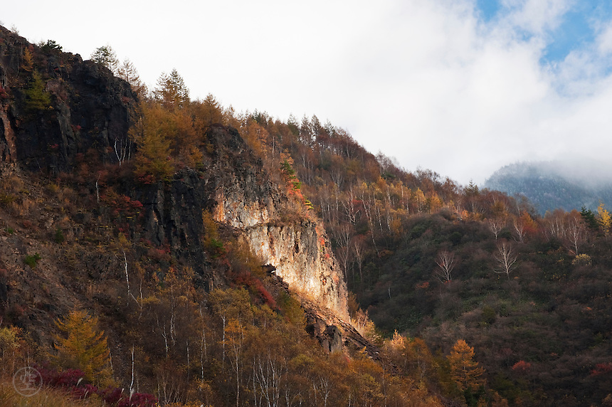 Autumn cliff and foliage near Fudou no Taki, Nagano, Japan.