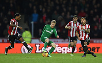 Preston's Daryl Horgan controls the ball with Brentford's Josh Clarke and Nico Yennaris closing in<br /> <br /> Photographer Jonathan Hobley/CameraSport<br /> <br /> The EFL Sky Bet Championship - Brentford v Preston North End - Saturday 10th February 2018 - Griffin Park - Brentford<br /> <br /> World Copyright &copy; 2018 CameraSport. All rights reserved. 43 Linden Ave. Countesthorpe. Leicester. England. LE8 5PG - Tel: +44 (0) 116 277 4147 - admin@camerasport.com - www.camerasport.com