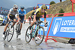 Primoz Roglic (SLO) Team Jumbo-Visma and World Champion Alejandro Valverde (ESP) Movistar Team cross the finish line in 3rd and 4th places with Marc Soler (ESP) Movistar 5th at the end of Stage 9 of La Vuelta 2019 running 99.4km from Andorra la Vella to Cortals d'Encamp, Spain. 1st September 2019.<br /> Picture: Colin Flockton | Cyclefile<br /> <br /> All photos usage must carry mandatory copyright credit (© Cyclefile | Colin Flockton)