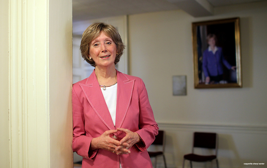 Former Speaker Donna Sydek with her portrait at the statehouse in Concord, N.H., Monday, Aug. 6, 2012.  (Cheryl Senter for the New York Times)