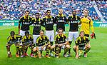 Solna 2014-07-24 Fotboll Europa League AIK - Linfield FC :  <br /> AIK:s startelva innan avspark<br /> (Foto: Kenta J&ouml;nsson) Nyckelord:  AIK Gnaget Friends Arena Linfield LFC Europa League Kval