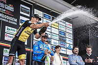 Danny Van Poppel (NED/Lotto NL-Jumbo) on podium after winning the 71th Halle Ingooigem 2018 (1.1)<br /> 1 Day Race: Halle &gt; Ingooigem (197.7km)