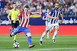 Atletico de Madrid's Kevin Gameiro and Deportivo Alaves's Victor Laguardia Cisneros during the match of La Liga Santander between Atletico de Madrid and Deportivo Alaves at Vicente Calderon Stadium. August 21, 2016. (ALTERPHOTOS/Rodrigo Jimenez)