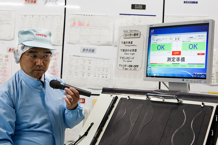 Toyota city, July 16 2014 - Inside Takaoka plant, demonstration of a new equipment for the self-training of workers.