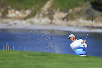 Scott Piercy (USA) chips onto the 6th green at Pebble Beach Golf Links during Saturday's Round 3 of the 2017 AT&amp;T Pebble Beach Pro-Am held over 3 courses, Pebble Beach, Spyglass Hill and Monterey Penninsula Country Club, Monterey, California, USA. 11th February 2017.<br /> Picture: Eoin Clarke | Golffile<br /> <br /> <br /> All photos usage must carry mandatory copyright credit (&copy; Golffile | Eoin Clarke)