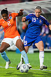 Dyanne Bito, Eugenie Le Sommer,  QF, Holland-France, Women's EURO 2009 in Finland, 09032009, Tampere, Ratina Stadium.
