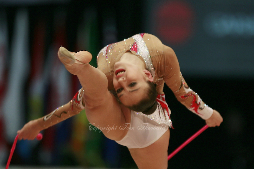 Evgenia Kanaeva of Russia performs with rope at 2008 Portimao World Cup of Rhythmic Gymnastics on April 20, 2008.  Photo by Tom Theobald.