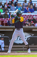 Beloit Snappers outfielder Lazaro Armenteros (8) at bat during a Midwest League game against the Wisconsin Timber Rattlers on May 17, 2018 at Fox Cities Stadium in Appleton, Wisconsin. Beloit defeated Wisconsin 8-7. (Brad Krause/Four Seam Images)
