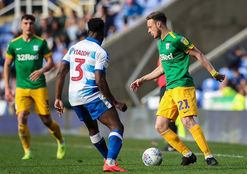 Preston North End's Brandon Barker competing with Reading's Andy Yiadom <br /> <br /> Photographer Andrew Kearns/CameraSport<br /> <br /> The EFL Sky Bet Championship - Reading v Preston North End - Saturday 30th March 2019 - Madejski Stadium - Reading<br /> <br /> World Copyright © 2019 CameraSport. All rights reserved. 43 Linden Ave. Countesthorpe. Leicester. England. LE8 5PG - Tel: +44 (0) 116 277 4147 - admin@camerasport.com - www.camerasport.com
