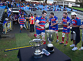 Ardmore Marist Captain Christian Kelleher leads his team out for the Counties Manukau Premier 1 McNamara Cup Final between Ardmore Marist and Bombay, played at Navigation Homes Stadium on Saturday July 20th 2019.<br />  Bombay won the McNamara Cup for the 5th time in 6 years, 33 - 18 after leading 14 - 10 at halftime.<br /> Photo by Richard Spranger.