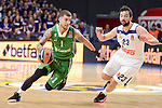 Real Madrid's Sergio Llull and Darussafaka Dogus's Scottie Wilbekin during Turkish Airlines Euroleague match between Real Madrid and Darussafaka Dogus at Wizink Center in Madrid, Spain. February 24, 2017. (ALTERPHOTOS/BorjaB.Hojas)