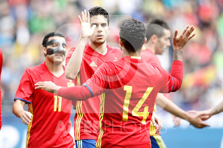 Spain's Pedro Rodriguez, Marc Bartra and Thiago Alcantara celebrate goal during friendly match. June 1,2016.(ALTERPHOTOS/Acero)