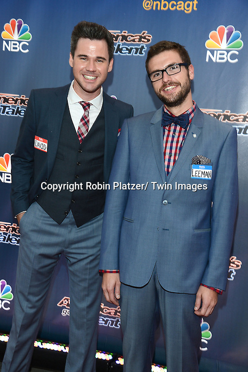 "David and Leeman attend the kick off  of Season 9's live voting rounds of ""America's Got Talent""  at Radio City Music Hall on July 29, 2014 in New York City."