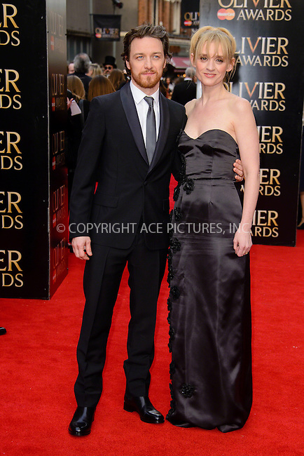 WWW.ACEPIXS.COM<br /> <br /> April 12 2015, London<br /> <br /> James McAvoy and Anne-Marie Duff arriving at The Olivier Awards 2015 at Royal Opera House on April 12 2015 in London<br />  <br /> By Line: Famous/ACE Pictures<br /> <br /> <br /> ACE Pictures, Inc.<br /> tel: 646 769 0430<br /> Email: info@acepixs.com<br /> www.acepixs.com