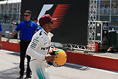 June 10th 2017, Circuit Gilles Villeneuve, Montreal Quebec, Canada; Formula One Grand Prix, Qualifying sessions; Lewis Hamilton - Mercedes AMG Petronas F1 W08 takes pole and is presented with a hisoric Senna helmet by his family