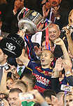 FC Barcelona's Andres Iniesta, stand up the trophy  during Spanish Kings Cup Final match. May 22,2016. (ALTERPHOTOS/Rodrigo Jimenez)