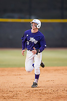 Brady Williamson (3) of the High Point Panthers hustles towards third base against the UNCG Spartans at Willard Stadium on February 14, 2015 in High Point, North Carolina.  The Panthers defeated the Spartans 12-2.  (Brian Westerholt/Four Seam Images)