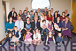 BABY JOY: Proud parents Pat and Caroline Harrington, Ballyheigue (seated 5th & 6th left) of little Sam with brother Dougie and sister Ria who was Christening by Fr Tom Leen at St Mary's Church, Ballyheigue and celebrated afterwards with family and friends at the Ballyroe Heights hotel, Tralee on Saturday.