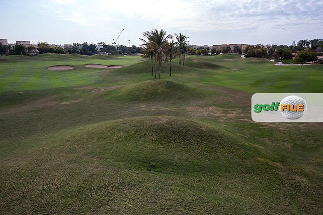 16th fairway(left) and reverse of 12th fairway (right) at The Address Montgomerie Golf Club, Dubai, United Arab Emirates.  27/01/2016. Picture: Golffile | David Lloyd<br /> <br /> All photos usage must carry mandatory copyright credit (&copy; Golffile | David Lloyd)
