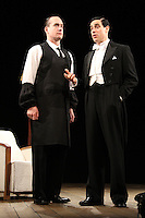 LONDON, ENGLAND - NOVEMBER 05: Matthew Macfadyen (as Jeeves) &amp; Stephen Mangan (as Bertie Wooster) star in 'Perfect Nonsense' at the Duke Of York's Theatre on November 5th 2013 in London, England.<br /> CAP/ROS<br /> &copy;Steve Ross/Capital Pictures